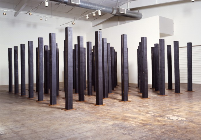 Christopher McNulty, Replication Field, 2003, Wood, steel, graphite, 18' x 18' x 72""