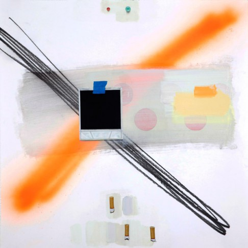 Craig Drennen, Painter 13c, 2013, graphite, acrylic, oil, alkyd, spray paint on paper, 20 x 20 inches