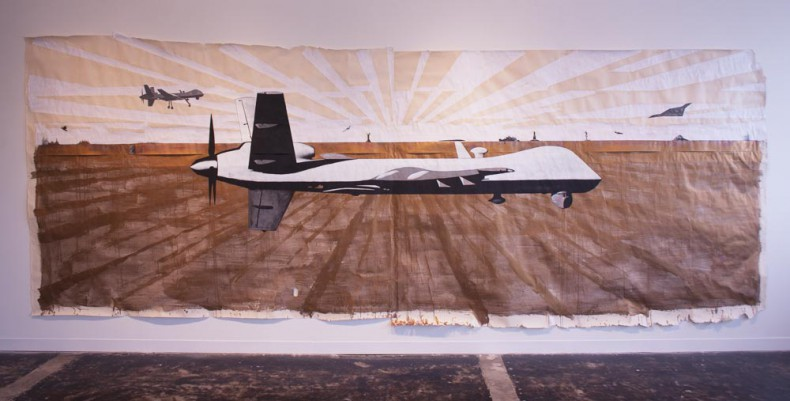 Glexis Novoa, Private Drone, 2011, silver wire, metallic pigment, gesso and collage on paper, 84 x 216 inches