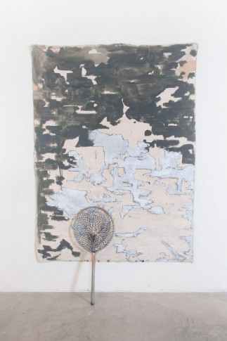 Eleanor Aldrich, Untitled (The Wait), 2012, Acrylic, oil and enamel on canvas with oil and silicone on found object, 72 x 50 x 6 inches