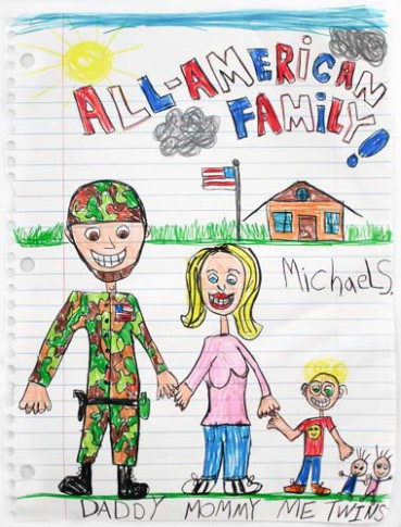 Michael Scoggins, All American Family XIII, 2010, crayon and color pencil on paper, 67 x 51 inches