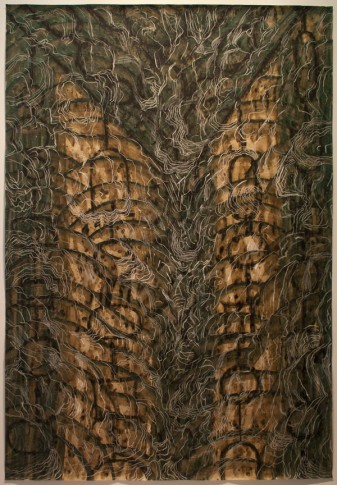 Alejandro Aguilera, Black Drawing (Flag), 1998, coffee, ink & crayon on paper, 70 3/8 x 48 inches