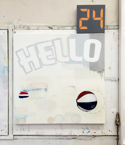 Craig Drennen, HELLO ABA III, 2015, oil & alkyd on canvas (two panels), 52 x 40 inches