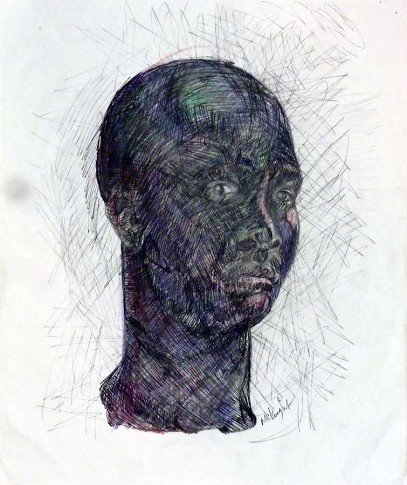 Donald McKnight, Nubian, 2009, ball point pen and markers on paper, 16 x 13 inches